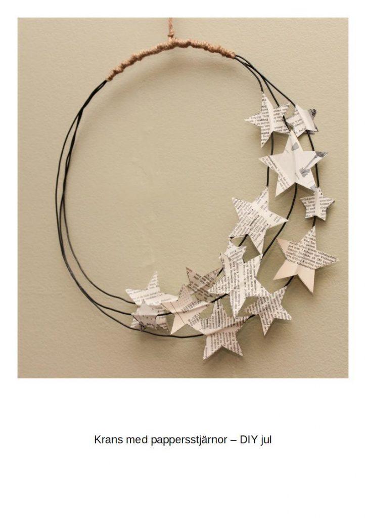 Krans med pappersstjärnor - DIY jul